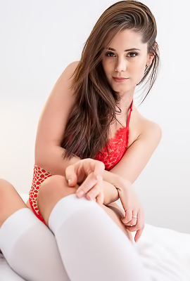 /Caprice Stripping Her Sexy Red Lingerie